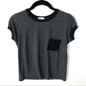Wet Seal Black and Gray Striped Ringer Crop Tee